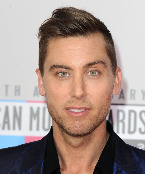 Lance Bass Short Straight Hairstyle - Medium Brunette (Chestnut)
