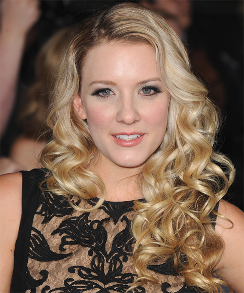 Kristen Quintrall Long Curly Formal Hairstyle - Medium Blonde (Golden) Hair Color