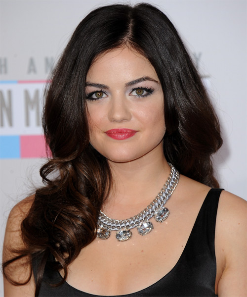 Lucy Hale Long Wavy Hairstyle - Dark Brunette