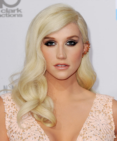 Kesha Long Wavy Formal Hairstyle - Light Blonde Hair Color