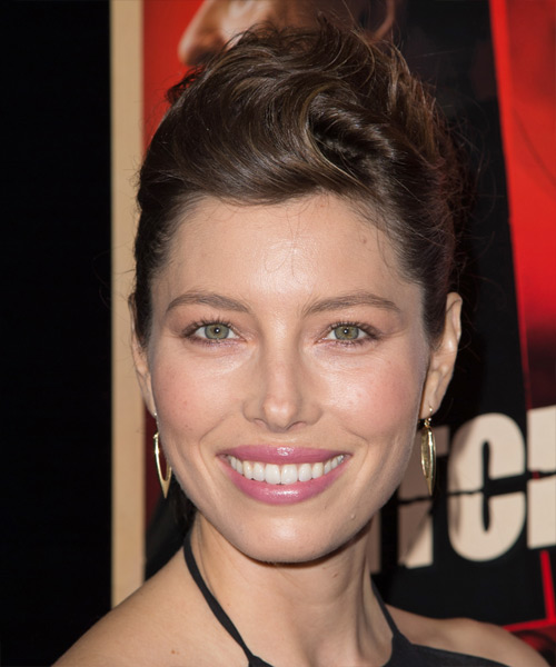 Jessica Biel Updo Long Straight Formal Updo Hairstyle - Medium Brunette Hair Color