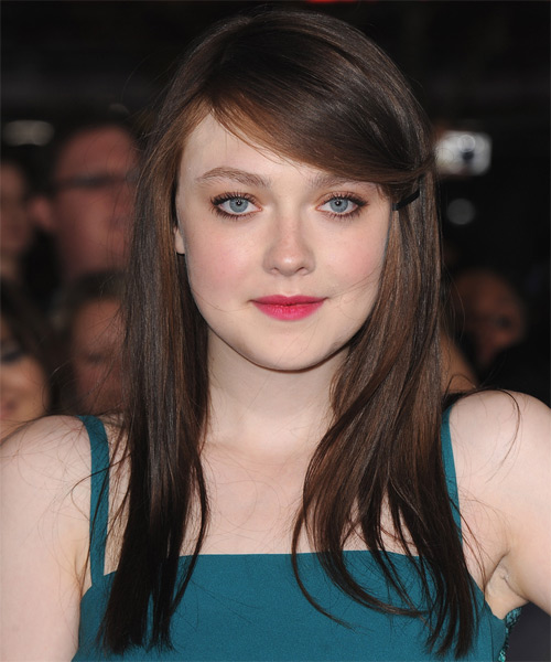 Dakota Fanning Long Straight Casual Hairstyle - Dark Brunette Hair Color