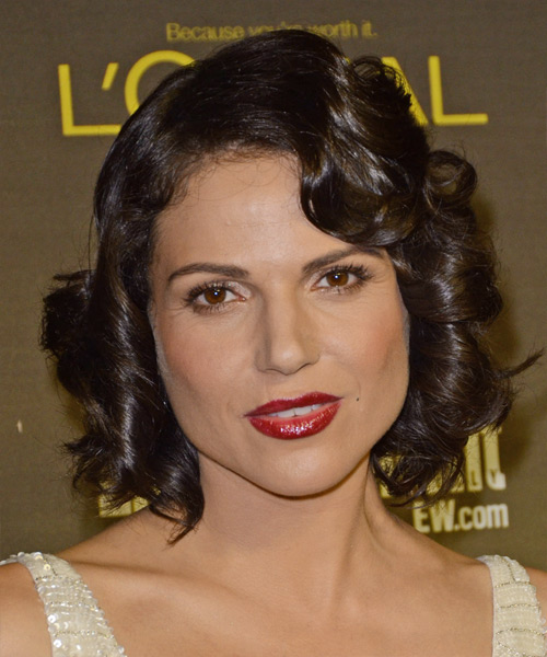 Lana Parrilla Short Curly Formal Hairstyle - Dark Brunette Hair Color