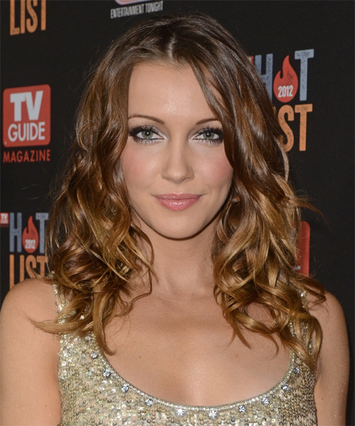 Katie Cassidy Long Wavy Hairstyle - Medium Brunette (Chestnut)