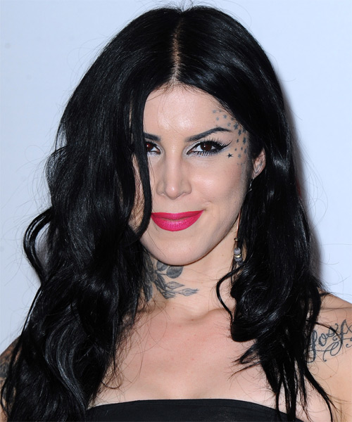 Kat Von D Long Straight Casual Hairstyle - Black (Ash) Hair Color