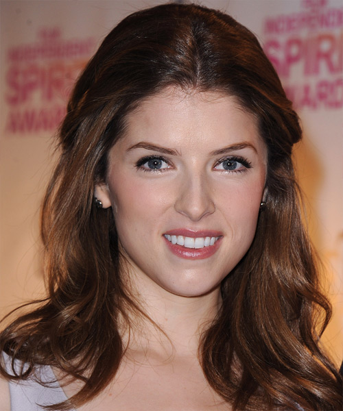 Anna Kendrick Straight Casual Half Up Hairstyle - Medium Brunette Hair Color
