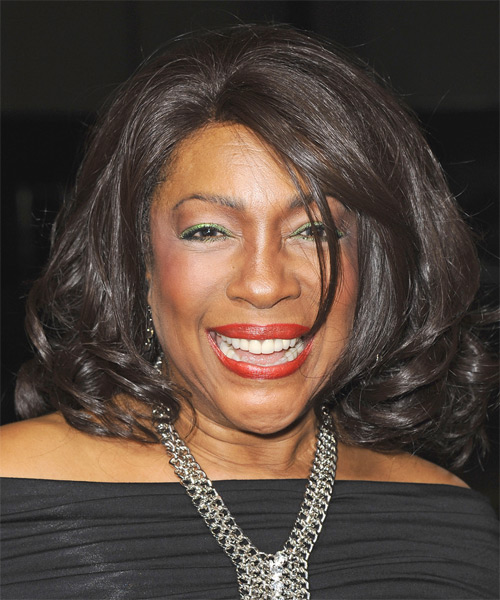 Mary Wilson Medium Wavy Formal Hairstyle - Dark Brunette (Chocolate) Hair Color