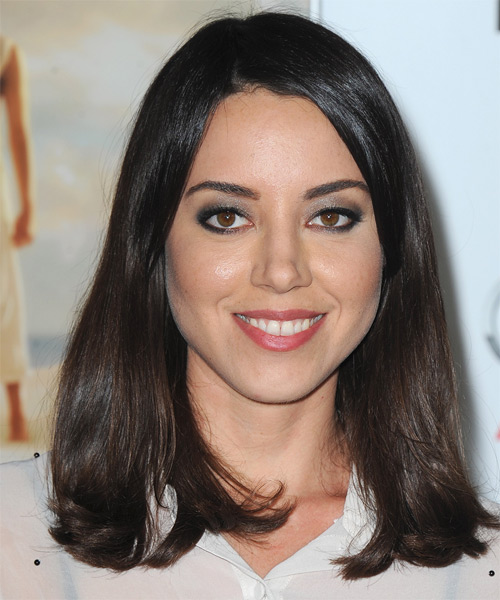 Aubrey Plaza Long Straight Hairstyle - Dark Brunette