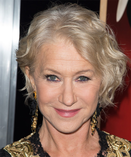 Helen Mirren  Short Wavy Casual Hairstyle - Light Blonde (Champagne) Hair Color
