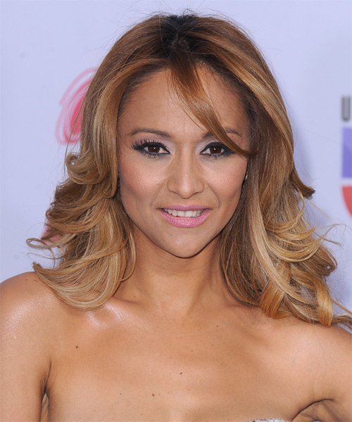 Veronica Bastos Medium Wavy Formal Hairstyle with Side Swept Bangs - Light Brunette (Caramel) Hair Color