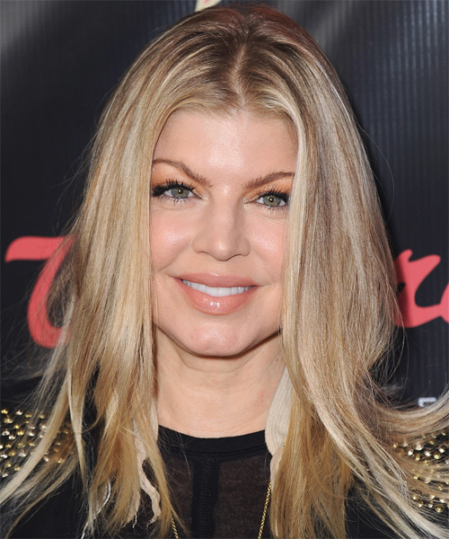 Fergie Long Straight Casual Hairstyle - Medium Blonde Hair Color