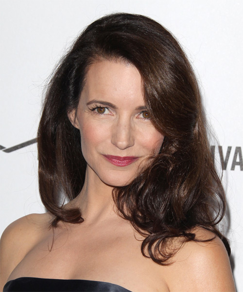 Kristin Davis Medium Straight Formal Hairstyle with Side Swept Bangs - Dark Brunette (Mocha) Hair Color