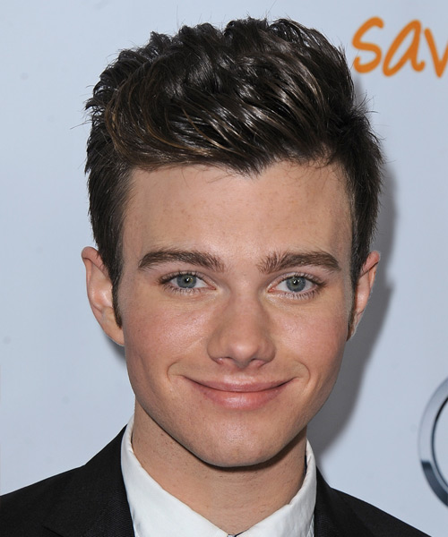 Chris Colfer Short Straight Formal Hairstyle - Dark Brunette Hair Color