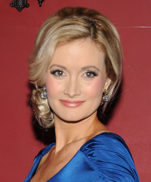 Holly Madison Formal Straight Updo Hairstyle - Medium Blonde
