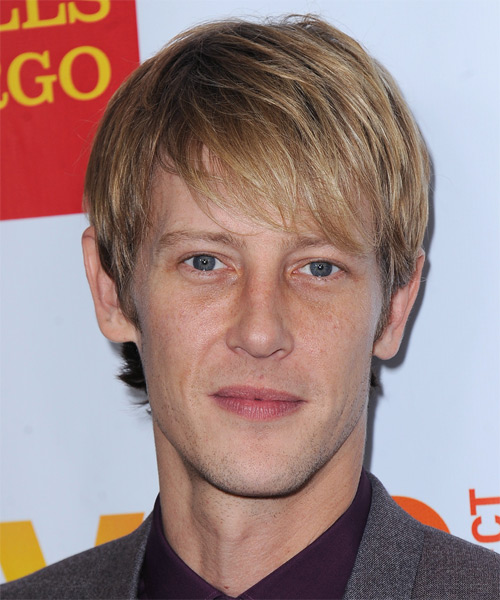 Gabriel Mann Short Straight Casual Hairstyle with Side Swept Bangs - Medium Blonde (Golden) Hair Color