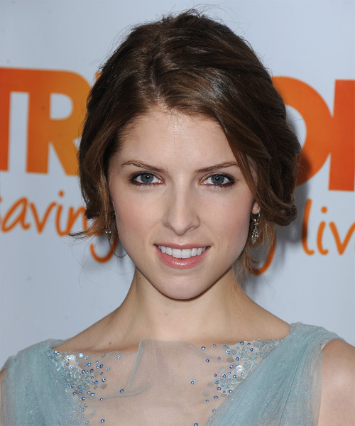 Anna Kendrick Straight Casual Updo Hairstyle - Medium Brunette Hair Color