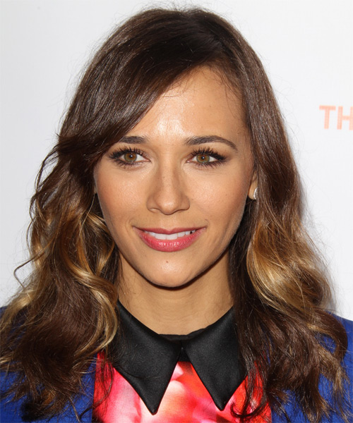 Rashida Jones Long Wavy Casual  with Side Swept Bangs - Medium Brunette (Chestnut)