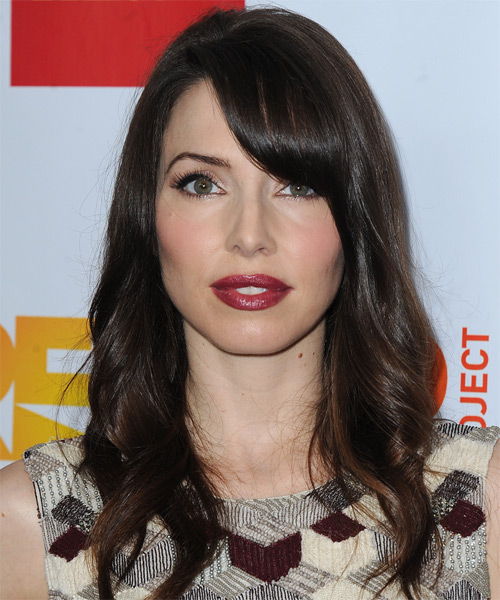 Whitney Cummings Long Wavy Casual Hairstyle with Side Swept Bangs - Dark Brunette (Mocha) Hair Color