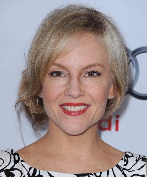 Rachael Harris Straight Casual Updo Hairstyle - Light Blonde (Champagne) Hair Color