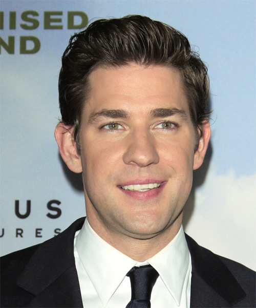 John Krasinski Short Straight Hairstyle - Dark Brunette (Ash)