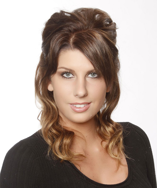 Casual Curly Half Up Hairstyle - Medium Brunette (Chestnut)