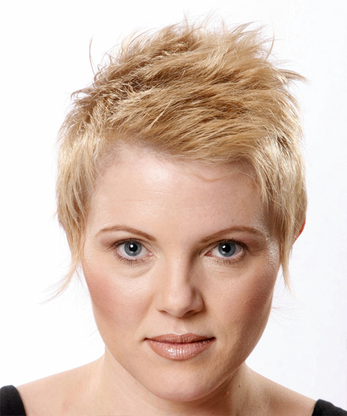 Short blonde hairstyle with height on top