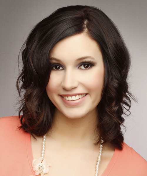 Medium Wavy Casual Hairstyle - Dark Brunette Hair Color