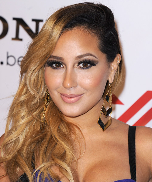 Adrienne Bailon Long Wavy Casual Hairstyle - Dark Blonde (Golden) Hair Color