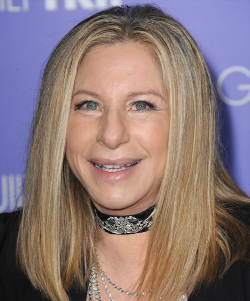 Barbra Streisand Long Straight Casual Hairstyle - Medium Blonde Hair Color