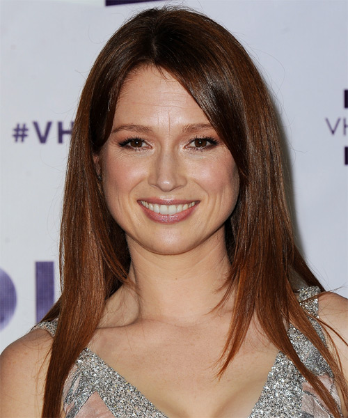 Ellie Kemper Long Straight Casual Hairstyle - Medium Brunette (Auburn)