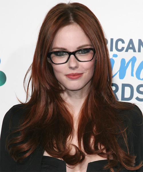 Alyssa Campanella Long Straight Hairstyle - Dark Red