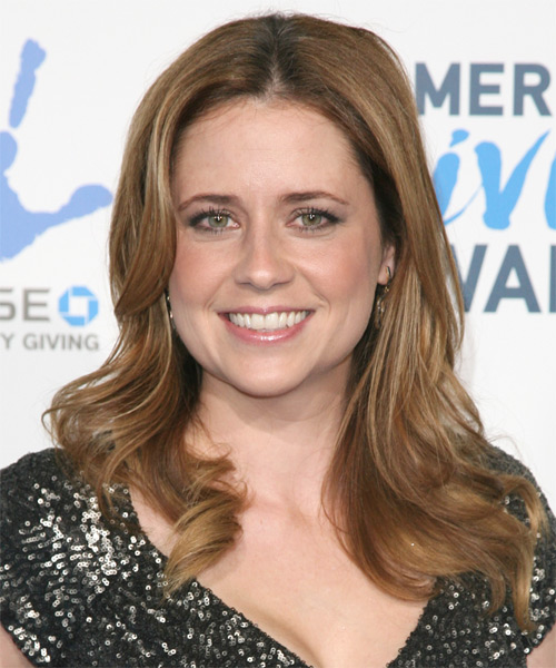 Jenna Fischer Long Straight Casual Hairstyle - Light Brunette (Caramel) Hair Color