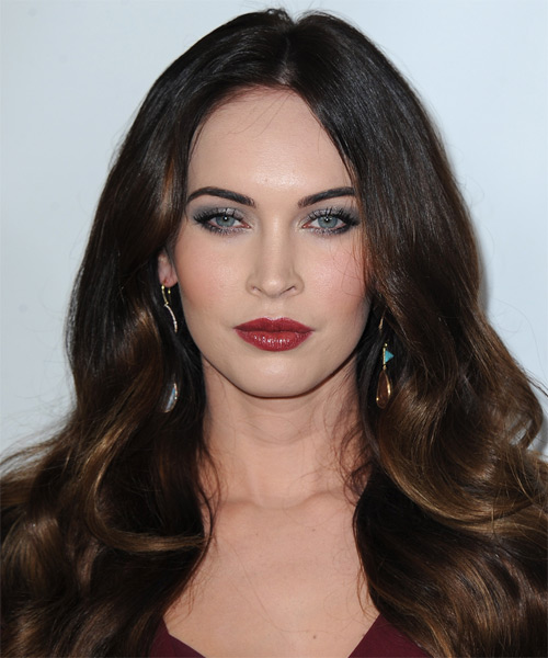 Megan Fox Long Wavy Hairstyle - Dark Brunette