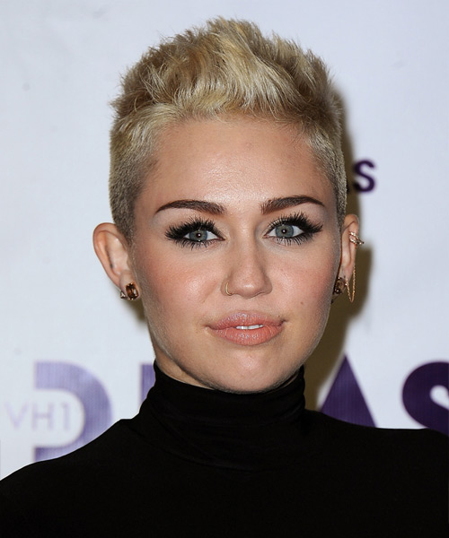 Miley Cyrus Short Straight Casual Hairstyle - Light Blonde (Golden) Hair Color
