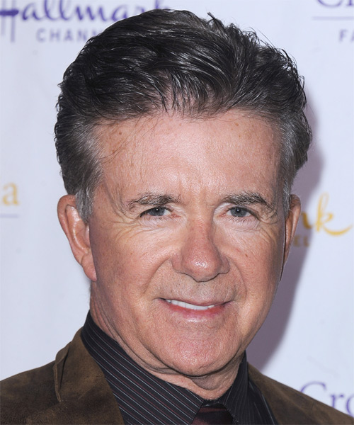 Alan Thicke Short Straight Hairstyle - Dark Grey