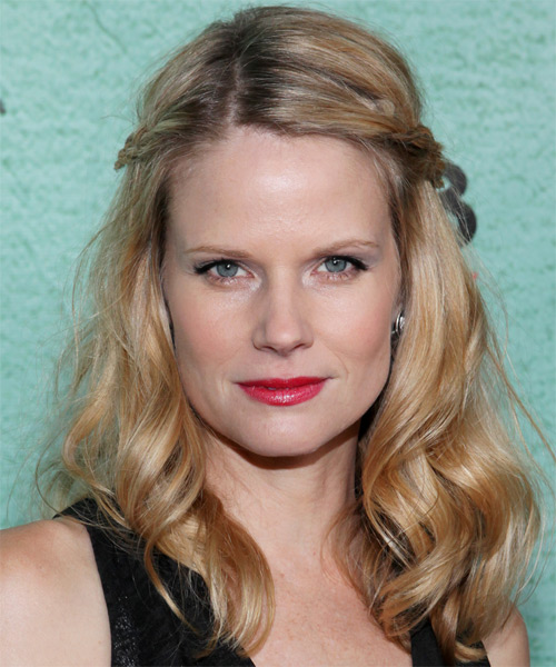 Joelle Carter Casual Curly Half Up Hairstyle - Medium Blonde (Golden)