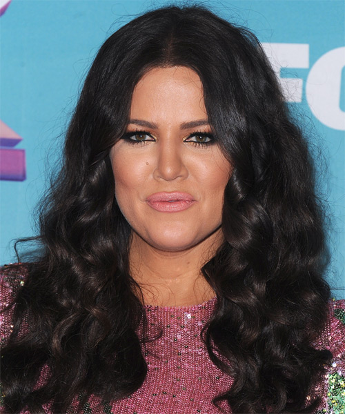 Khloe Kardashian Long Curly Casual Hairstyle - Dark Brunette Hair Color