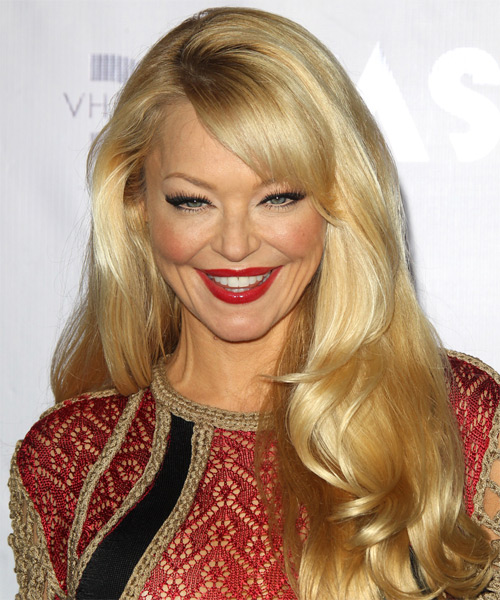 Charlotte Ross Long Straight Formal Hairstyle with Side Swept Bangs - Medium Blonde (Honey) Hair Color