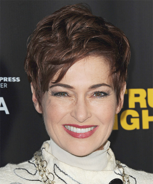 Carolyn Hennesy Short Straight Casual Hairstyle - Medium Brunette (Chocolate) Hair Color