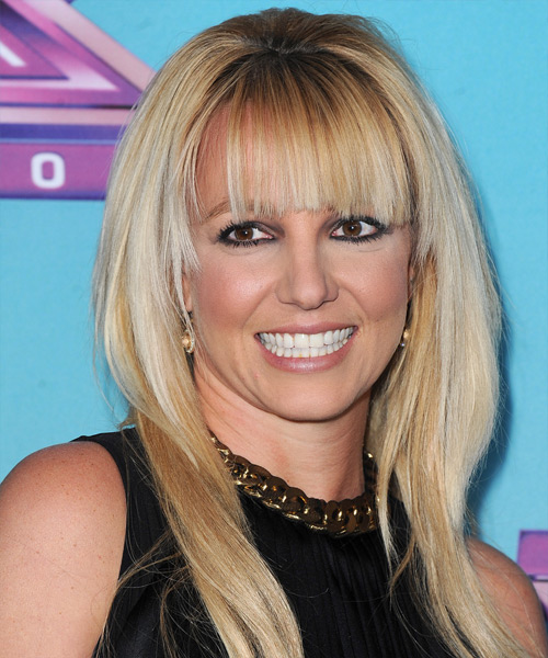 Britney Spears Long Straight Casual Hairstyle with Blunt Cut Bangs - Light Blonde Hair Color