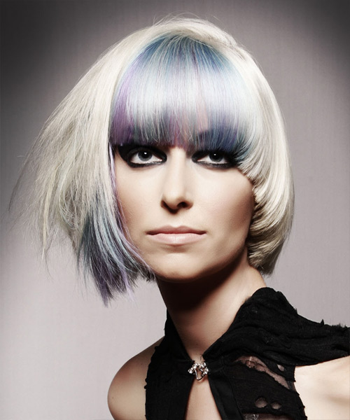 Medium Straight Alternative Emo Hairstyle with Blunt Cut Bangs - Light Blonde (Platinum) Hair Color
