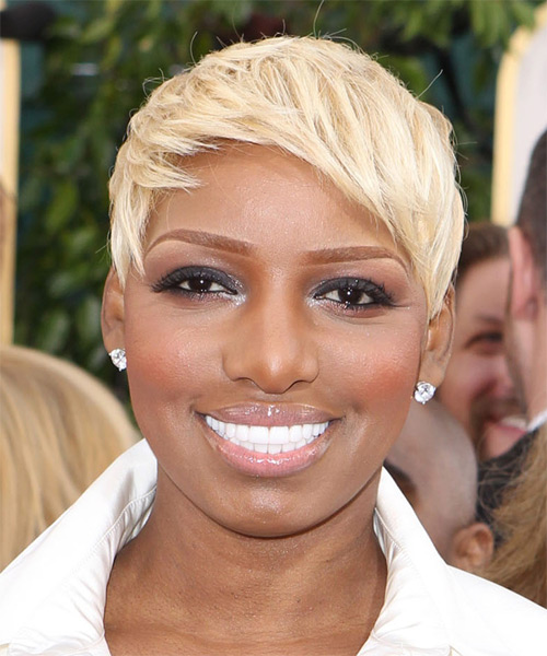 NeNe Leakes Short Straight Casual Pixie Hairstyle with Side Swept Bangs - Light Blonde Hair Color