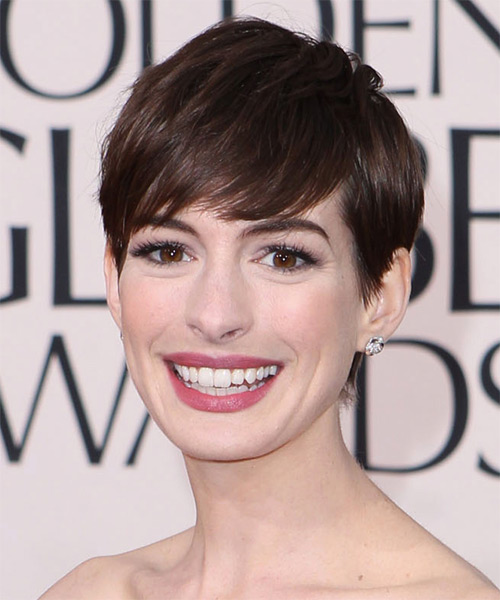 Anne Hathaway Short Straight Formal Pixie Hairstyle with Side Swept Bangs - Dark Brunette (Mocha) Hair Color