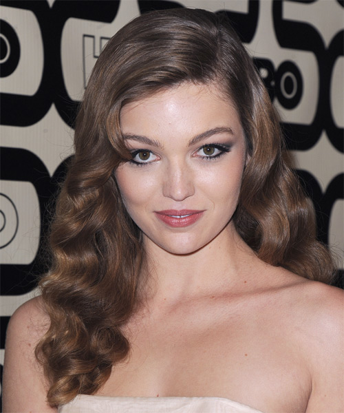 Lili Simmons Long Wavy Formal Hairstyle - Medium Brunette Hair Color