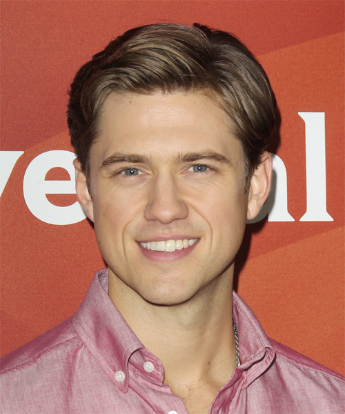 Aaron Tveit Short Straight Formal Hairstyle - Light Brunette (Caramel) Hair Color