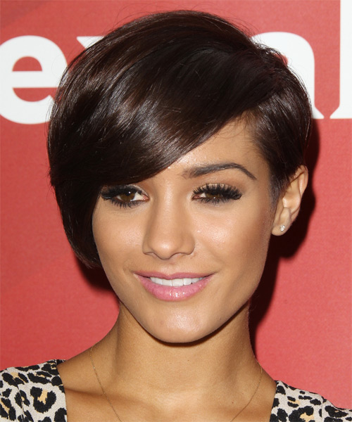 Francesca Sandford Short Straight Formal Hairstyle with Side Swept Bangs - Dark Brunette (Mocha) Hair Color