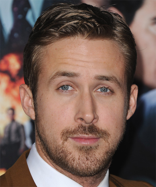 Ryan Gosling Short Straight Formal Hairstyle - Light Brunette (Caramel) Hair Color