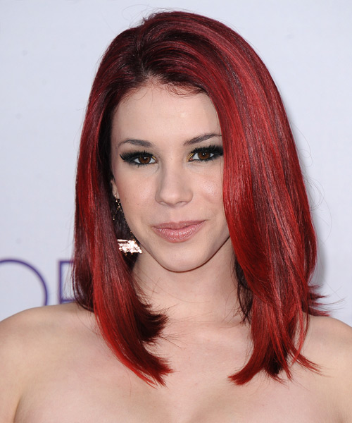 Jillian Rose Reed - Straight Emo Medium Straight Emo Hairstyle - Medium Red