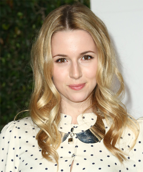 Alona Tal Long Wavy Casual Hairstyle - Medium Blonde (Golden) Hair Color