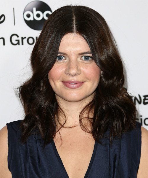 Casey Wilson Medium Wavy Casual Hairstyle - Dark Brunette (Mocha) Hair Color